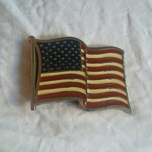 Vintage pewter enamel U.S. flag belt buckle 2155